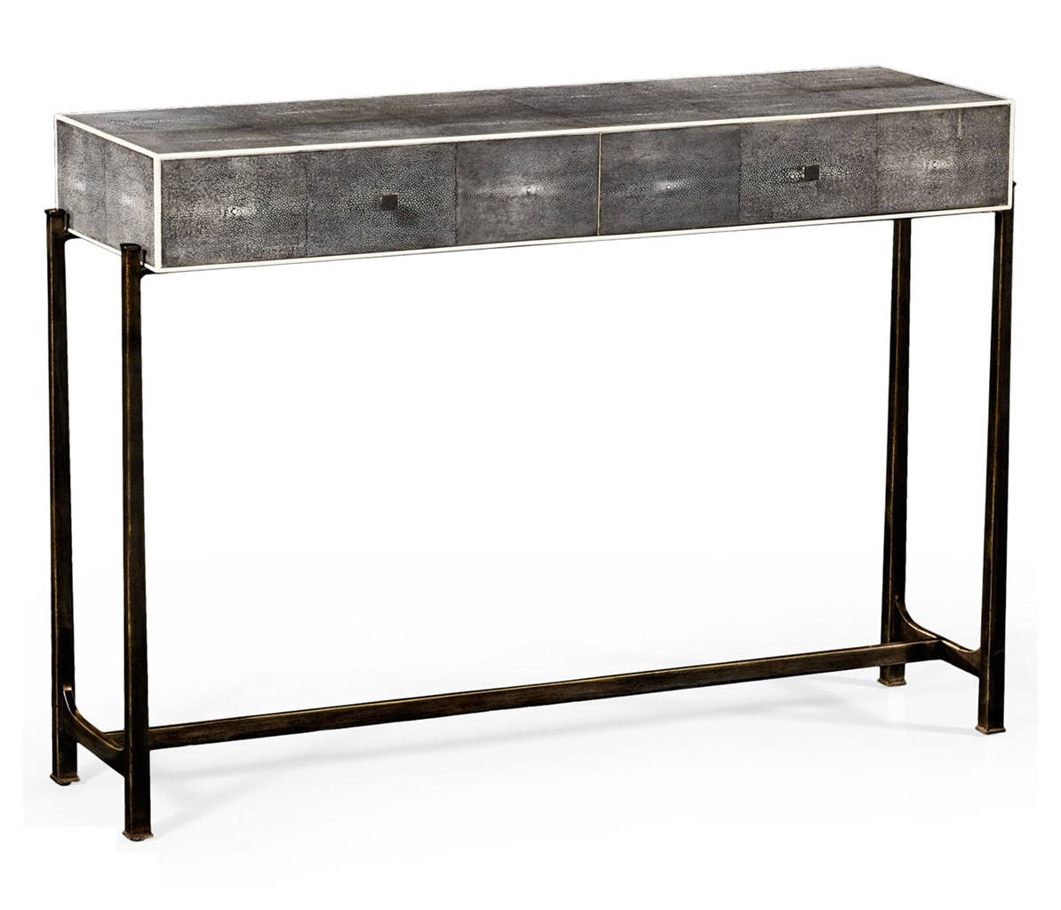 Contemporary styled wrought iron framed console table Metal console table