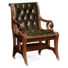 Green Leather Antique Armchair-73