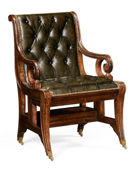 Bookcases Green Leather Antique Armchair-73