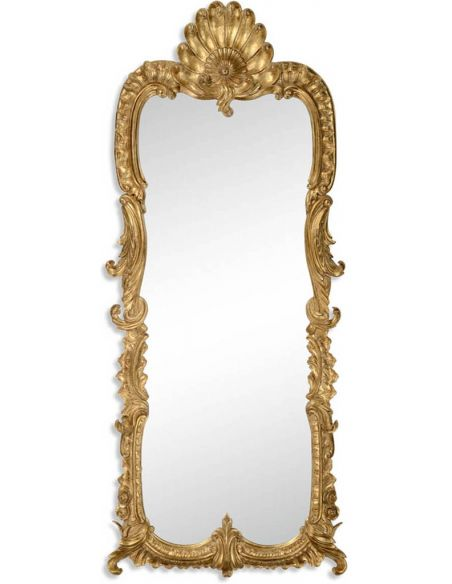 18th century gilded mirror with scallop shell
