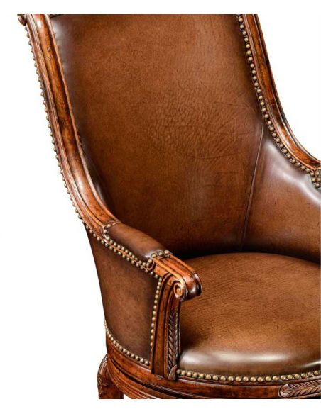 Home Bar Furniture Leather upholstered high back bar stool