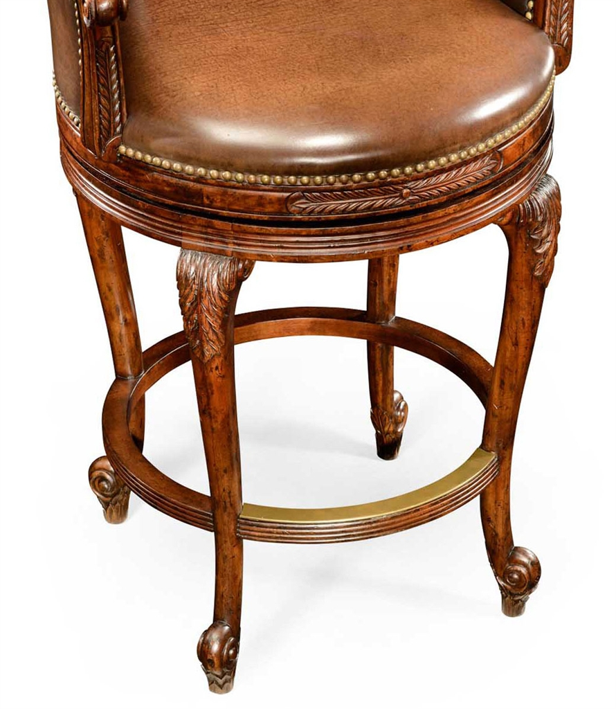Leather Upholstered High Back Bar Stool