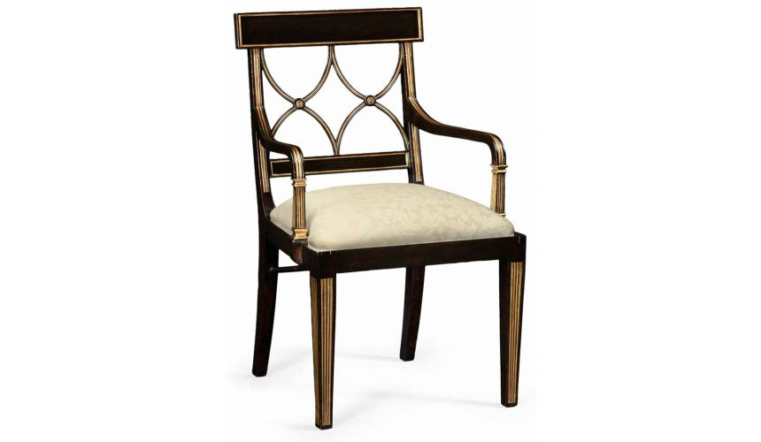 Square & Rectangular Side Tables Regency style Black Painted Dining Armchair-92