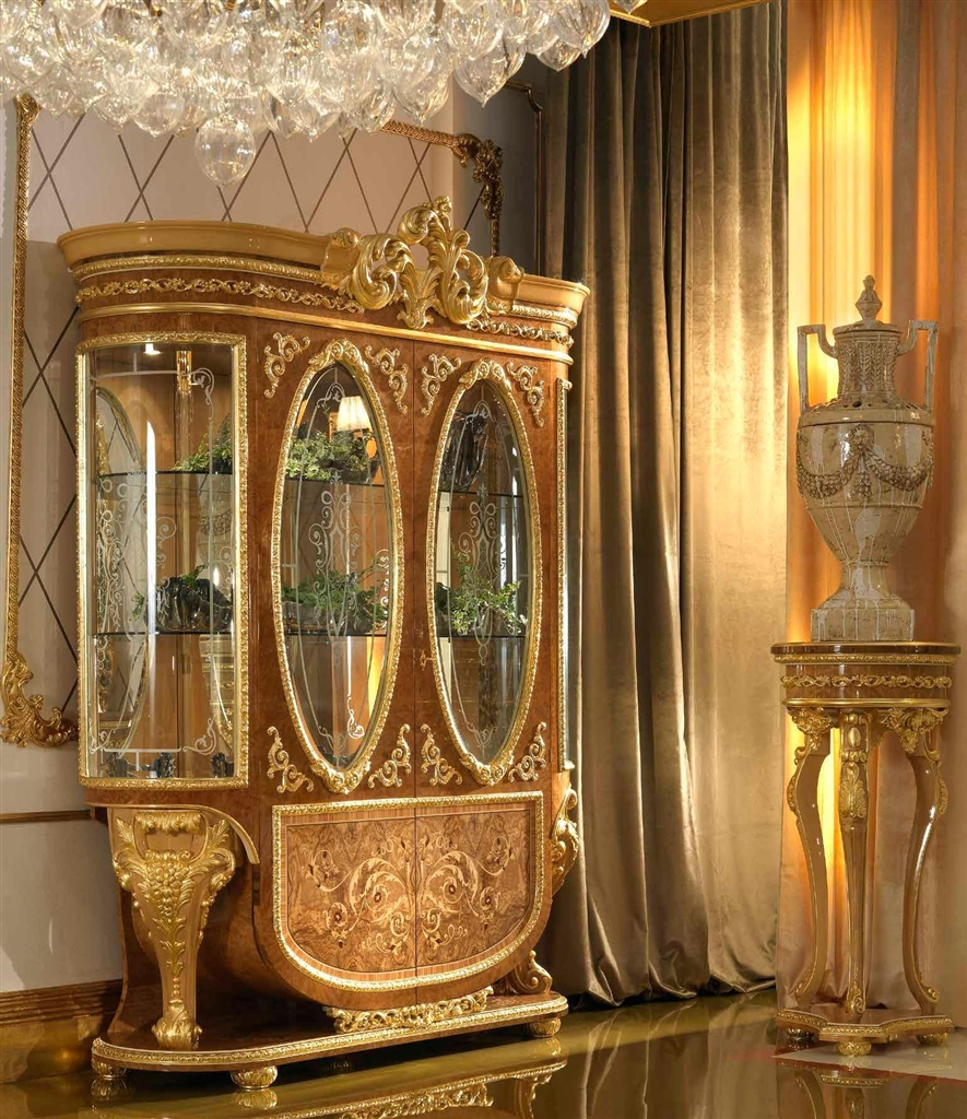 Home of the czar collection elegant two glass door for Dining room glass cabinet