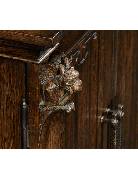 Square & Rectangular Side Tables Dark oak Linenfold Panelled Dartboard Cabinet-19
