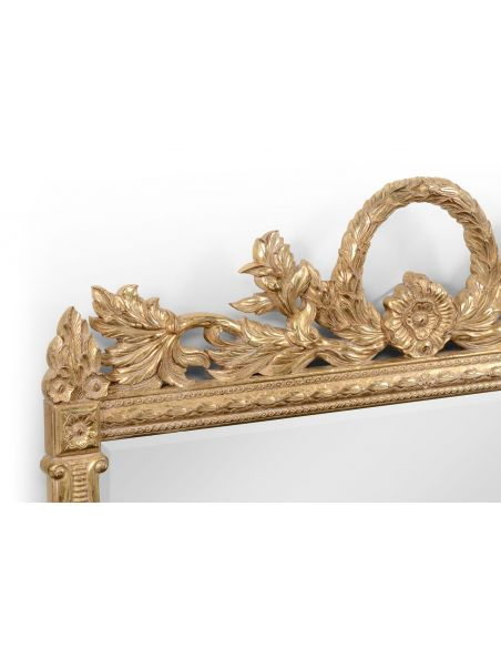 Foyer and Center Tables Large Rectangular Gilded Wall Mirror-41