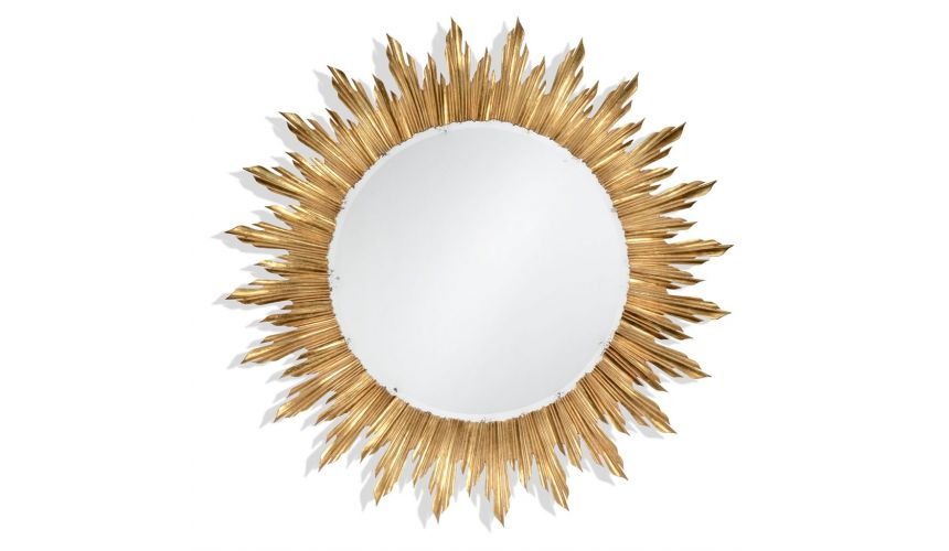 Louis XIV Large Gilt Sunburst Mirror-61