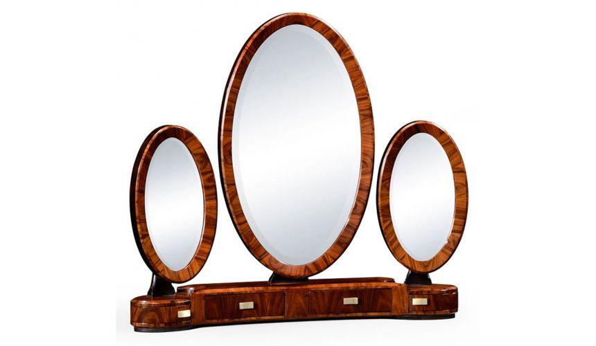 Square & Rectangular Side Tables Rosewood Veneered Triple Dressing Mirror-71