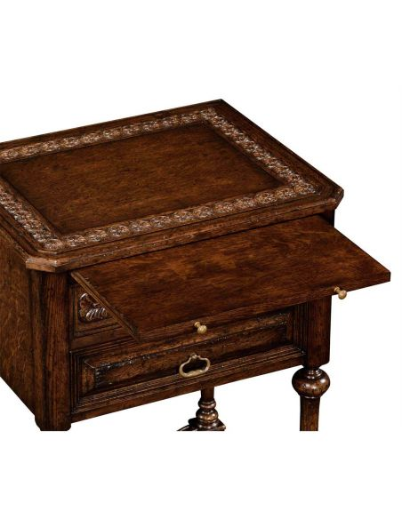 Dark Brown Oak Side Table with 2 Drawer-72