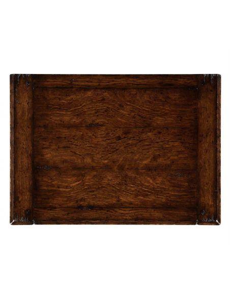 Square & Rectangular Side Tables Dark Brown Oak Distressed Bedside Cabinets-73