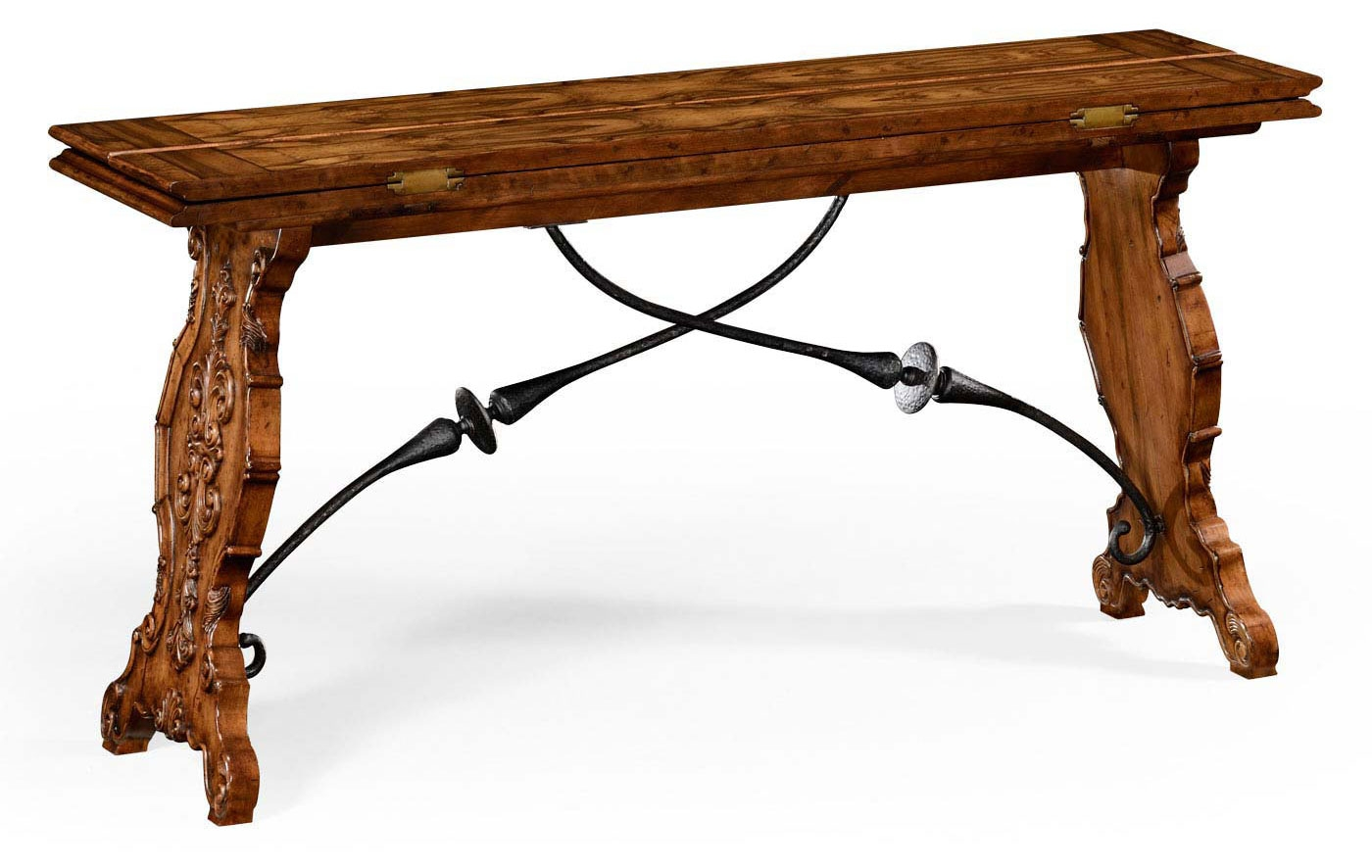 Distressed Walnut Wood Hunt Table
