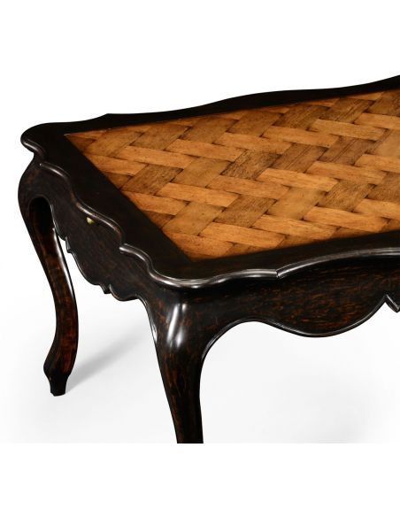 Rectangular and Square Coffee Tables French Style Distressed Black Painted Coffee Table-81