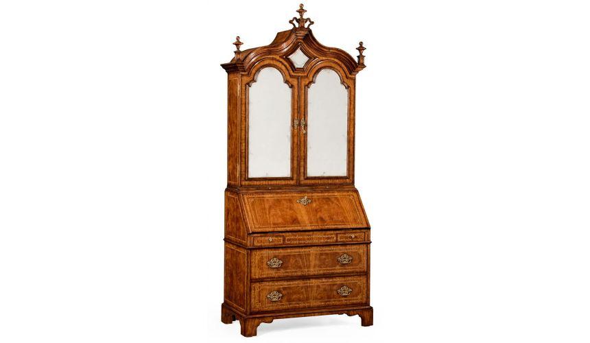Executive Desks Queen Anne walnut bureau with Chinoiserie interior.