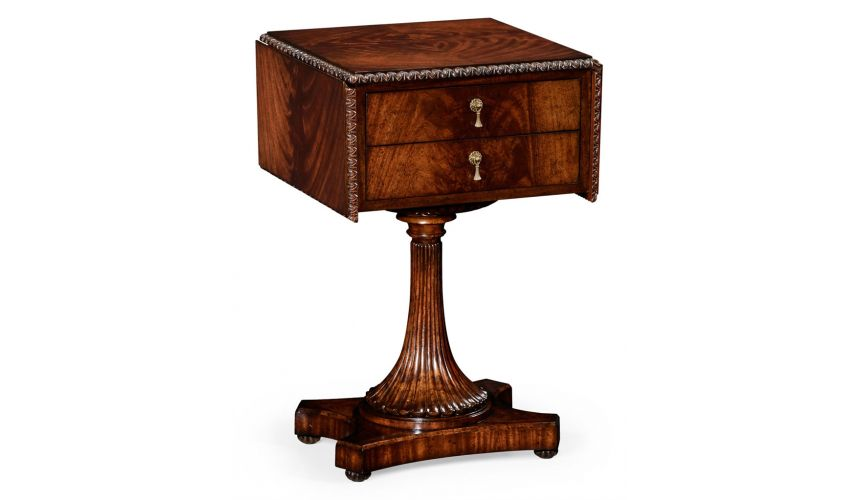 Square & Rectangular Side Tables Mahogany Side Table with Drawers-86