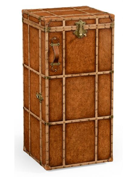 Square & Rectangular Side Tables Travel Trunk Style Wine and Cocktail Cabinet-89