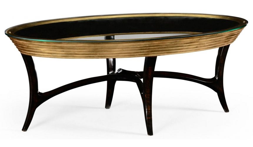 Modern Furniture Oval Black Lacquer and Coffee Table-10