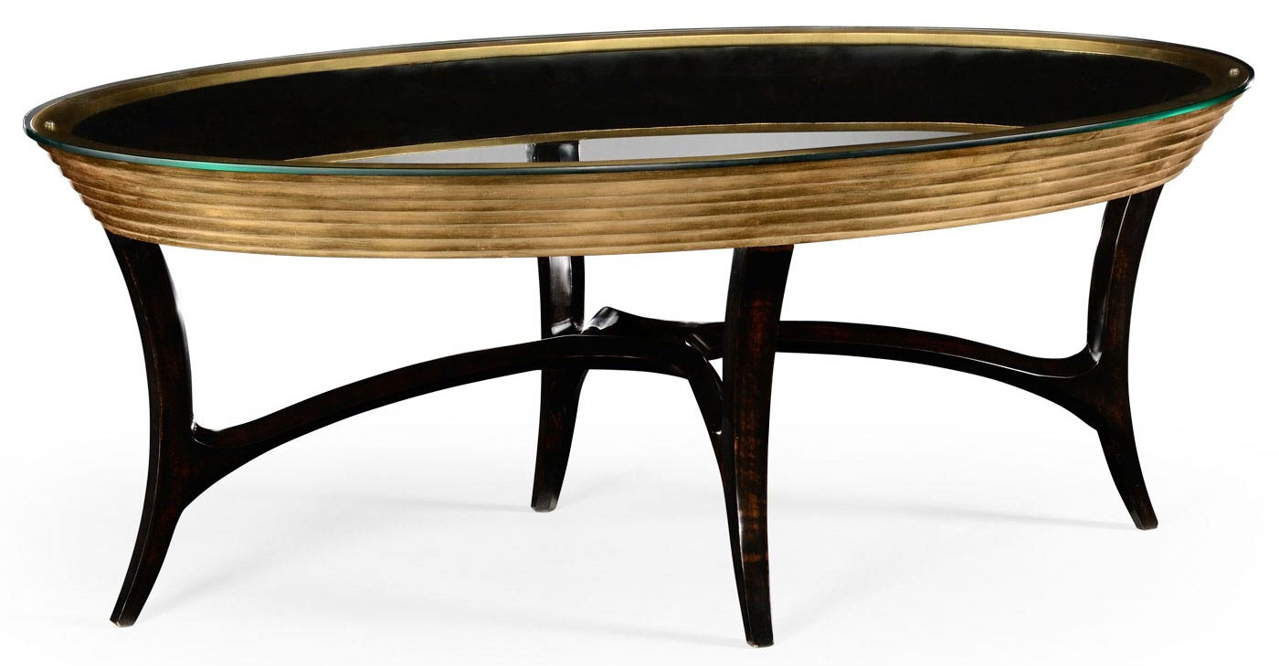 Oval Black Lacquer And Coffee Table 10