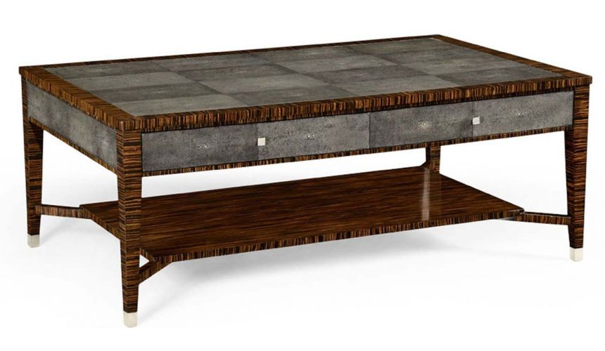 Rectangular and Square Coffee Tables Art Deco Styled Macassar Rectangular Coffee Table-11