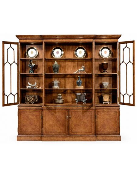 Breakfronts & China Cabinets Large Breakfronted Triple Display or Bookcase-13