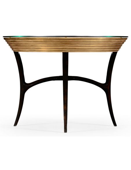 Foyer and Center Tables Circular Black Lacquer and Gilt Center Table-31