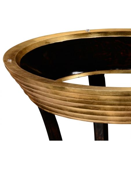 Round & Oval Side Tables Circular Black Lacquer and Gilt Side Table-42
