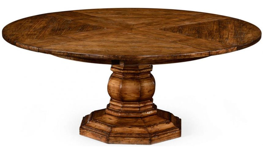 Dining Tables Walnut circular dining table with self-storing leaves