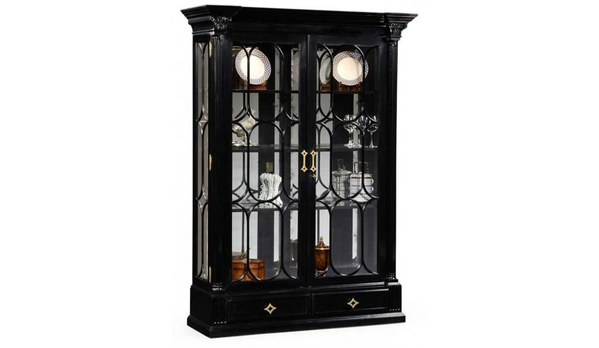 Large Black Painted Glass Door Display Cabinet-56