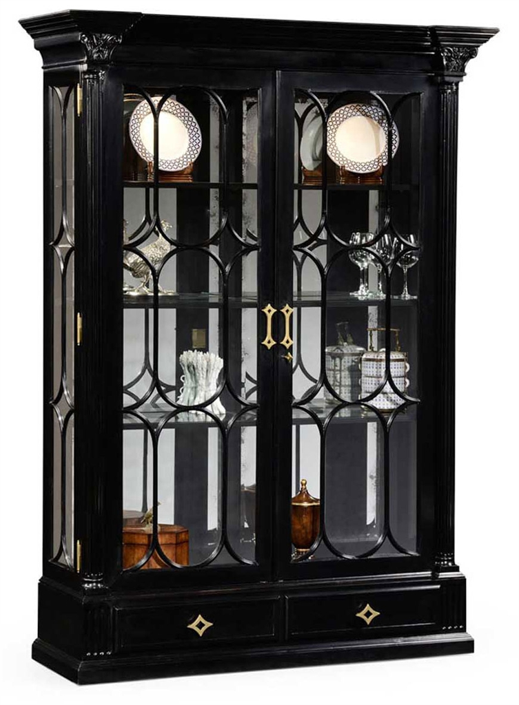Large Black Painted Glass Door Display Cabinet 56