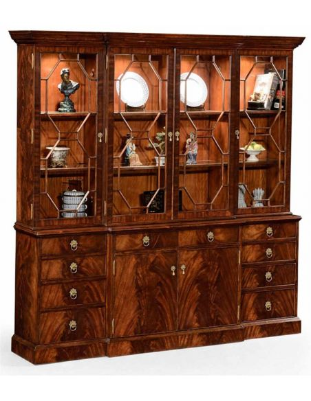 Breakfronts & China Cabinets Mahogany Large Triple Breakfront Bookcase-63