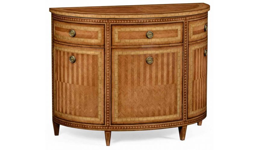 Stunning Satinwood Veneered Demilune Cabinet-78