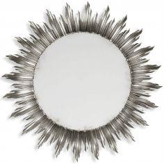 Large silver sunburst mirror