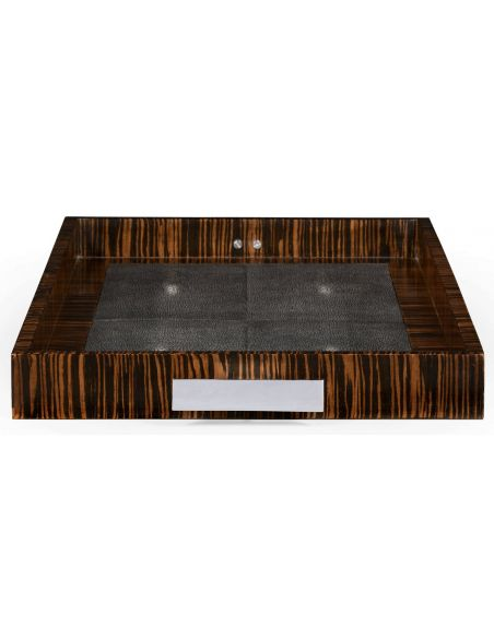 Square & Rectangular Side Tables Faux Macassar Ebony & Black Shagreen Tray-21