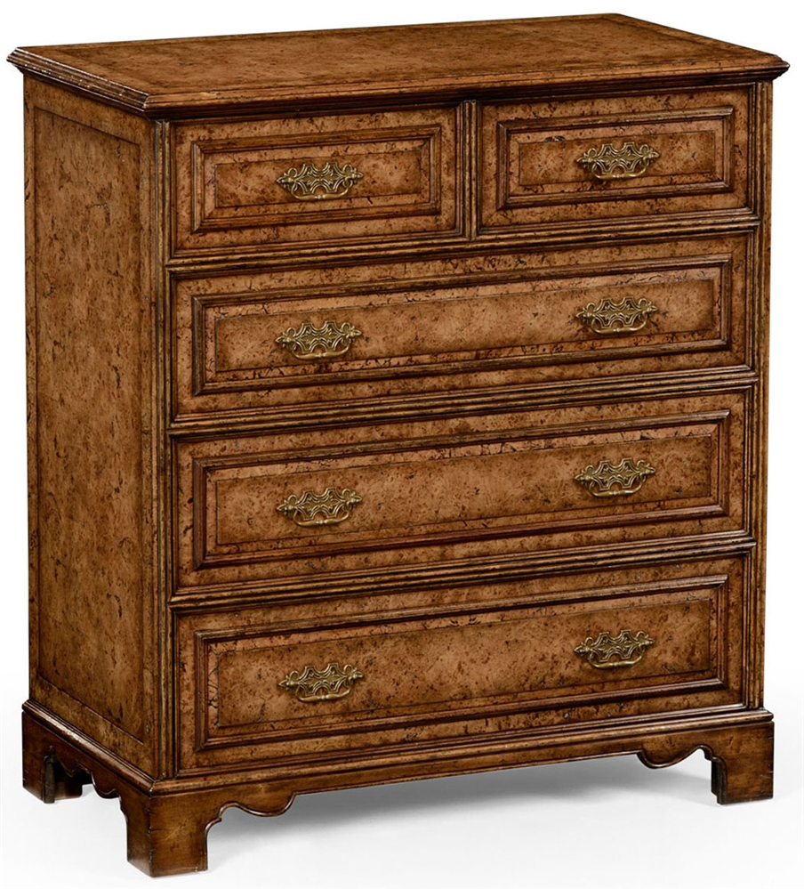 George Ii Style Burr Oak Chest Of Five Drawers