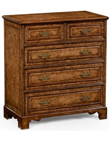 LUXURY BEDROOM FURNITURE George II style burr oak chest of five drawers.