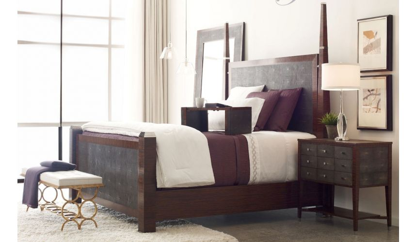 BEDS - Queen, King & California King Sizes Faux macassar & anthracite faux shagreen bed.
