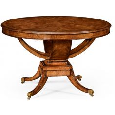 Biedermeier style crotch walnut centre or library table.