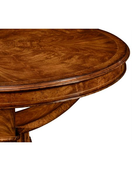 Dining Tables Biedermeier style crotch walnut centre or library table.