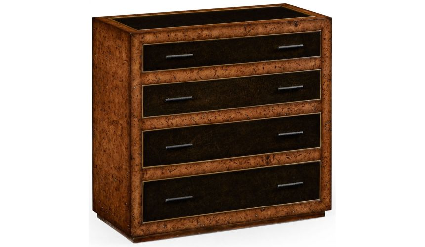 Modern Furniture Rustic burr oak and leather chest of four drawers.