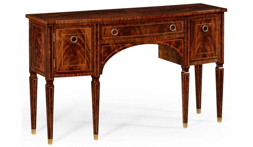 Breakfronts & China Cabinets Regency mahogany bow fronted sideboard.