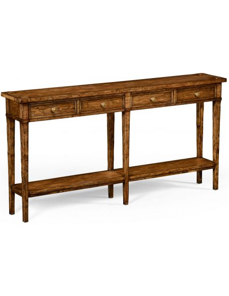 Console & Sofa Tables Country living style walnut four drawer console table.