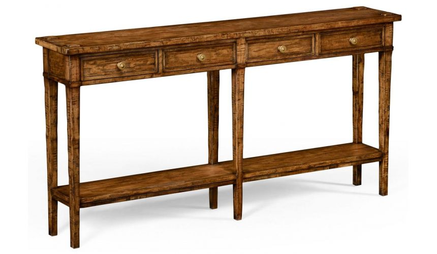 Rectangular Walnut Narrow Console Table-75