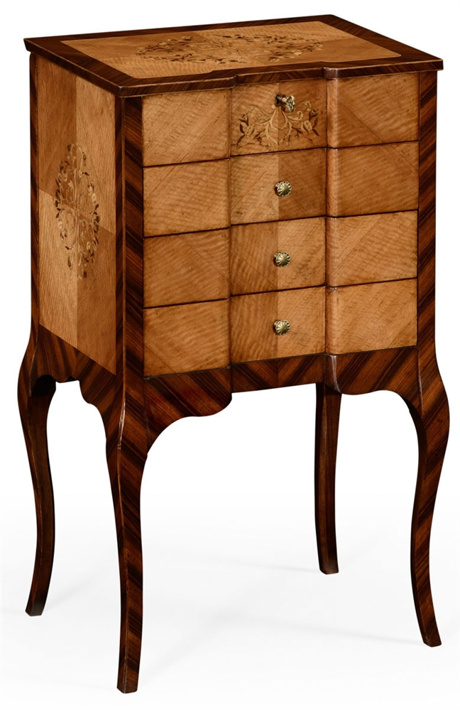 Narrow Rectangular Mirrored Side Table With Drawer And Penny Pattern Elegant Homes Showcase