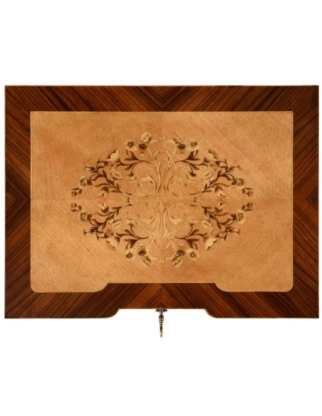 Square & Rectangular Side Tables Finely Detailed Satinwood and Marquetry Table-95