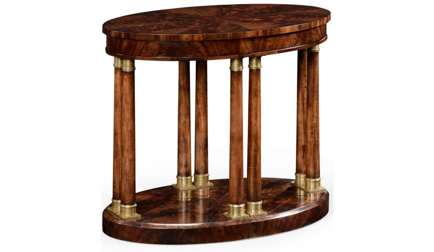 Square & Rectangular Side Tables Mahogany Veneered Oval Side Table-70