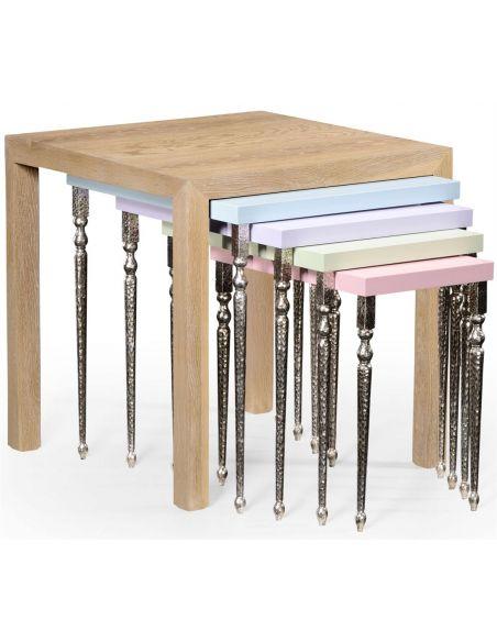 Square & Rectangular Side Tables Alexander Julian Oak Nesting Tables-80
