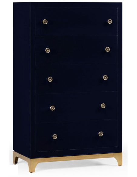 Modern Furniture Tall chest with blazer buttons (British Navy/Gold)