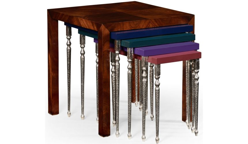 Square & Rectangular Side Tables Mahogany and hammered iron coloured nest of tables