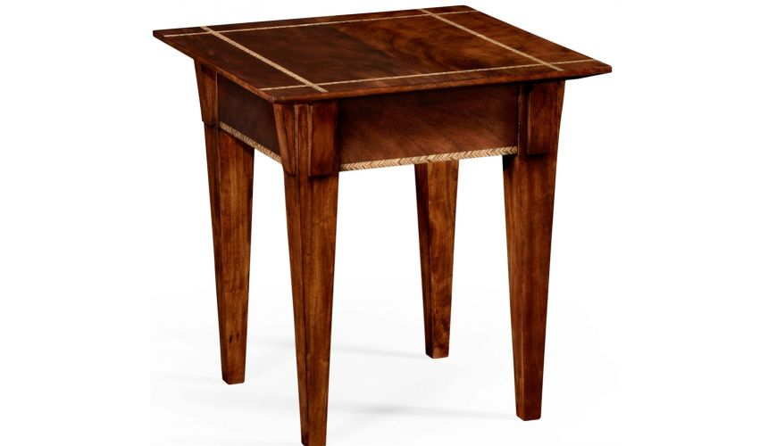 Square & Rectangular Side Tables Mahogany side table with herringbone inlay detail