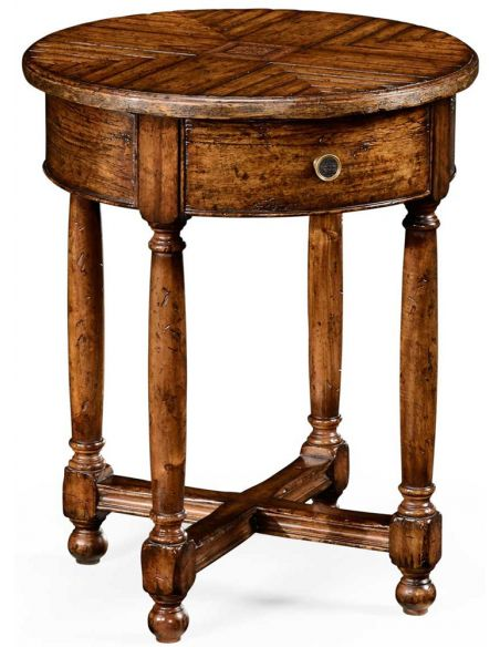 Round & Oval Side Tables Walnut parquet round side table with contrast inlay.