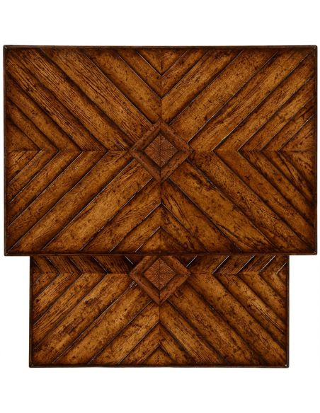 Square & Rectangular Side Tables Walnut parquet nesting tables with contrast inlay.